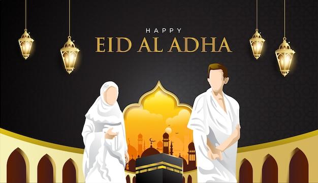 Sfondo di eid al adha e hajj mabrour con kaaba, uomo e donna hajj character Vettore Premium