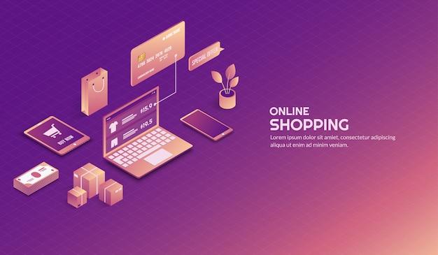 Sfondo di elementi dello shopping online isometrica Vettore Premium