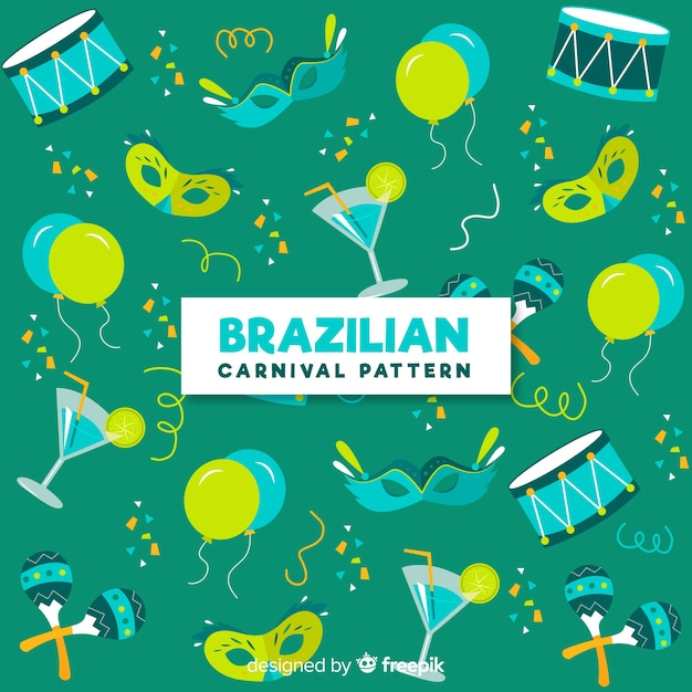 Sfondo di elementi di carnevale brasiliano Vettore gratuito