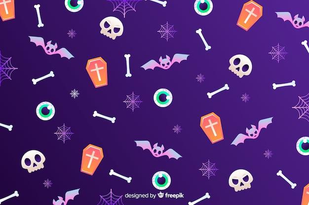 Sfondo di elementi di halloween sfumato Vettore gratuito