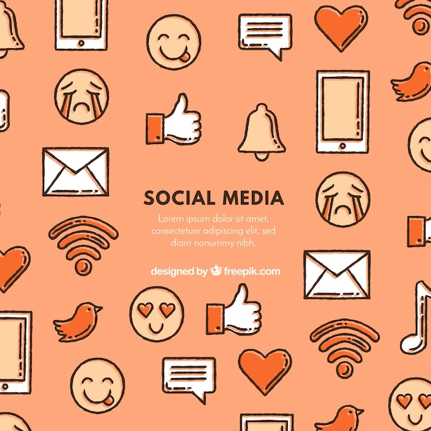 Sfondo di elementi di media sociali Vettore gratuito
