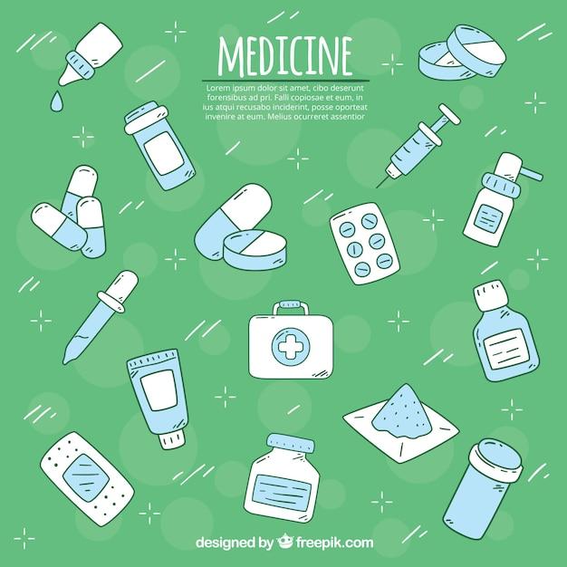 Sfondo di elementi di medicina in stile piano Vettore gratuito