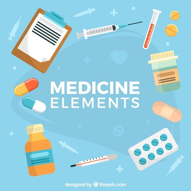 Sfondo di elementi di medicina Vettore gratuito