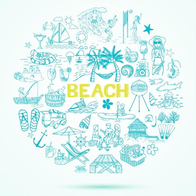Sfondo di elementi di spiaggia disegnati a mano Vettore gratuito