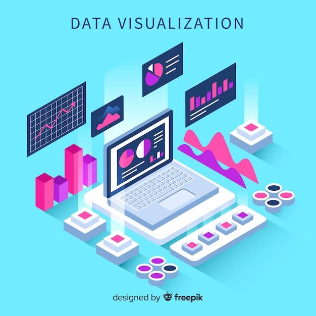 Sfondo di elementi di visualizzazione dei dati isometrici Vettore gratuito