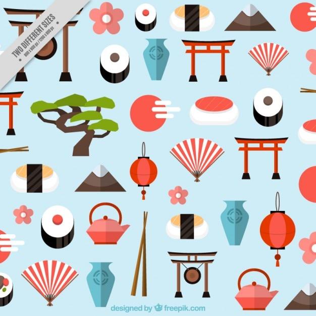 Sfondo di elementi giapponesi in stile piatto Vettore gratuito