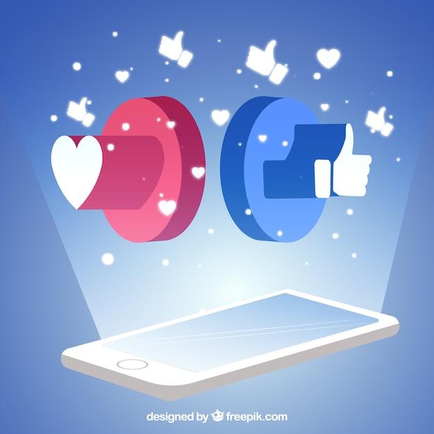 Sfondo Di Facebook Con Il Cellulare Scaricare Vettori Gratis
