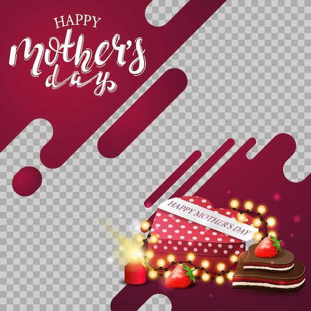 Sfondo di festa della mamma modello con linee al neon Vettore Premium
