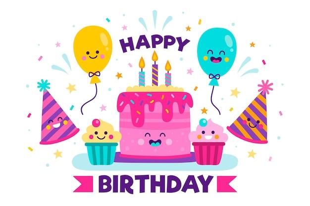Sfondo di festa di compleanno disegnata a mano con torta Vettore gratuito