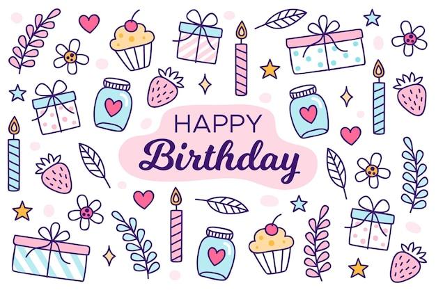 Sfondo di festa di compleanno disegnati a mano con candele Vettore gratuito