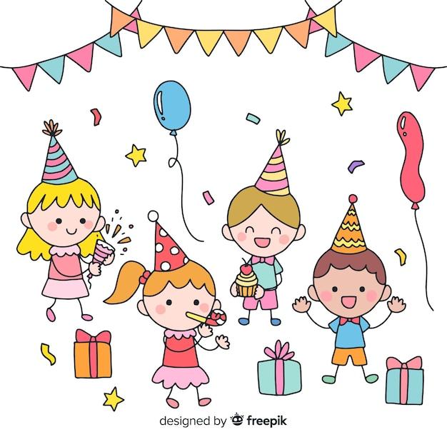 Sfondo di festa di compleanno per bambini Vettore gratuito