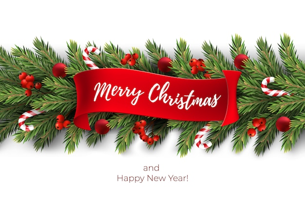 Sfondo di festa per auguri di buon natale con una ghirlanda realistica rami di alberi di pino, decorato con palline di natale, bastoncini di zucchero, bacche rosse Vettore Premium