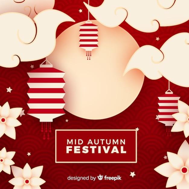 Sfondo di festival di mezza autunno Vettore gratuito