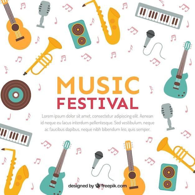 Sfondo di festival di musica in stile piano Vettore gratuito