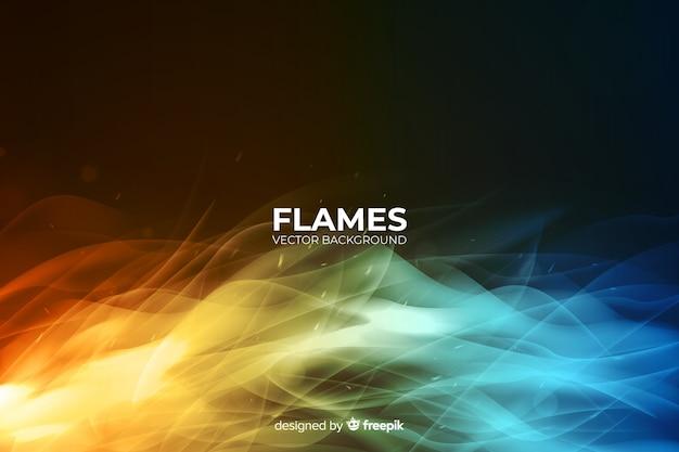 Sfondo di fiamme colorate realistiche Vettore gratuito