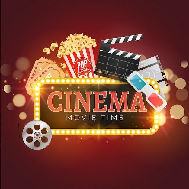 Sfondo di film cinema. popcorn, pellicola, assicella, biglietti. sfondo del tempo del film Vettore Premium