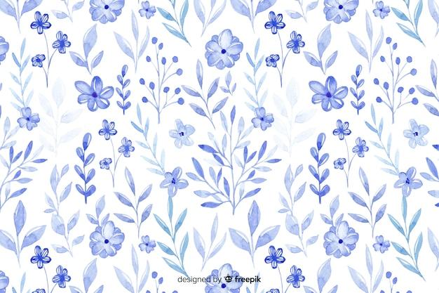 Sfondo di fiori blu dell'acquerello monocromatico Vettore gratuito