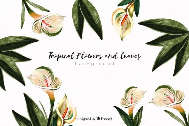 Sfondo di fiori esotici disegnati a mano Vettore gratuito