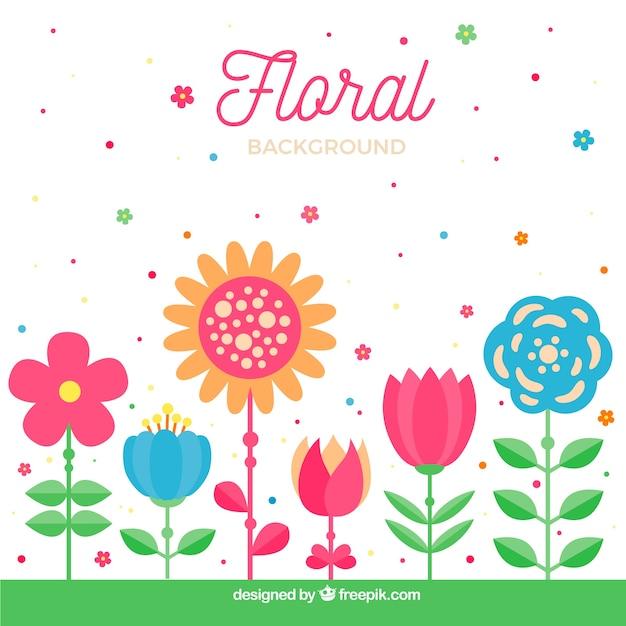 Sfondo di fiori linea piatta Vettore gratuito