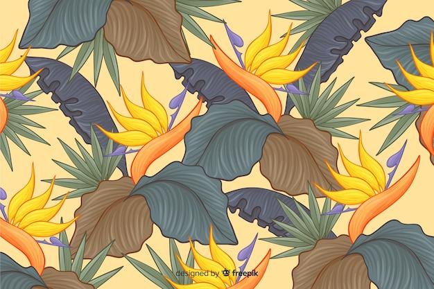 Sfondo di fiori tropicali disegnati a mano Vettore gratuito