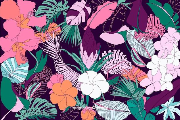 Sfondo di fiori tropicali in stile 2d Vettore gratuito