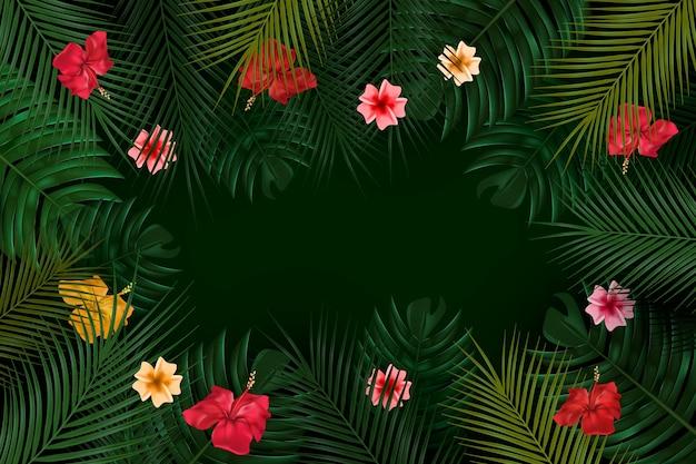 Sfondo di fiori tropicali per lo zoom Vettore gratuito