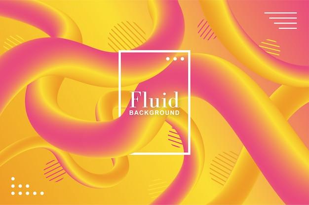 Sfondo di fluido caldo con forme gialle e rosa Vettore gratuito