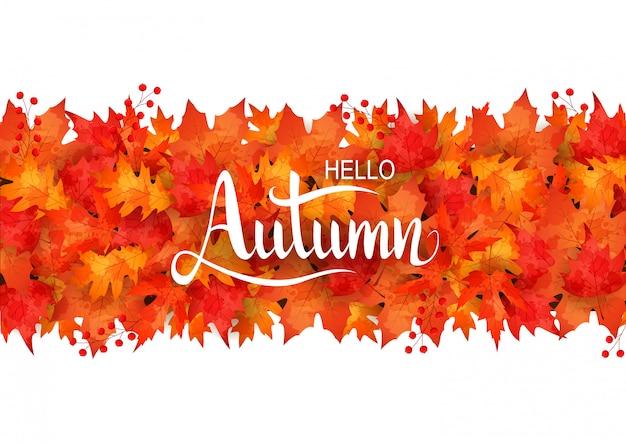Sfondo di foglie d'autunno Vettore Premium