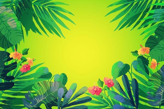 Sfondo di foglie e fiori tropicali Vettore gratuito
