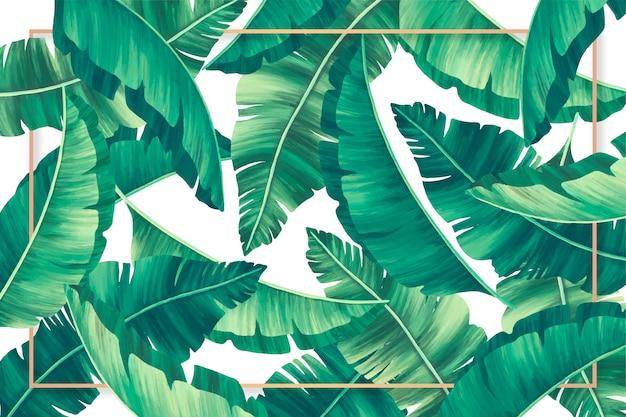 Sfondo di foglie tropicali con cornice dorata Vettore gratuito