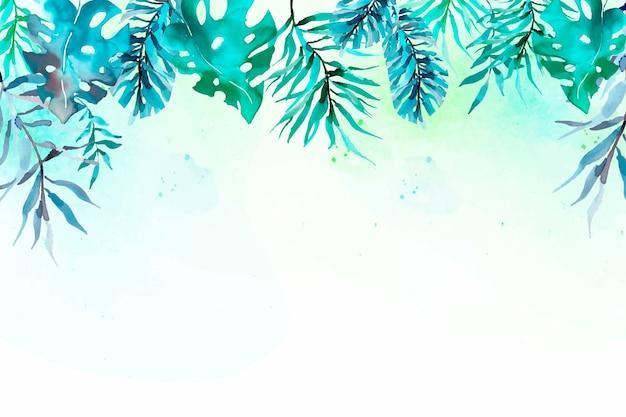 Sfondo di foglie tropicali dell'acquerello Vettore gratuito