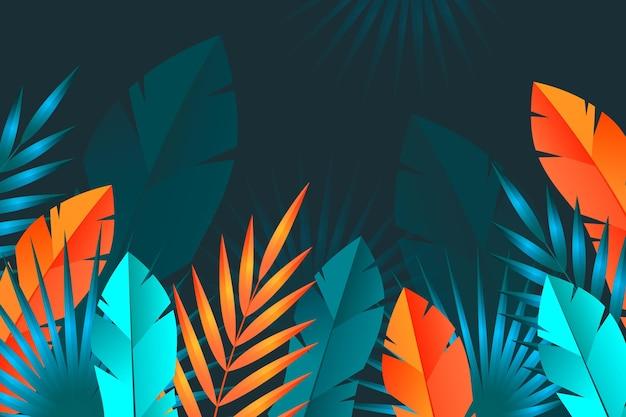 Sfondo di foglie tropicali Vettore gratuito