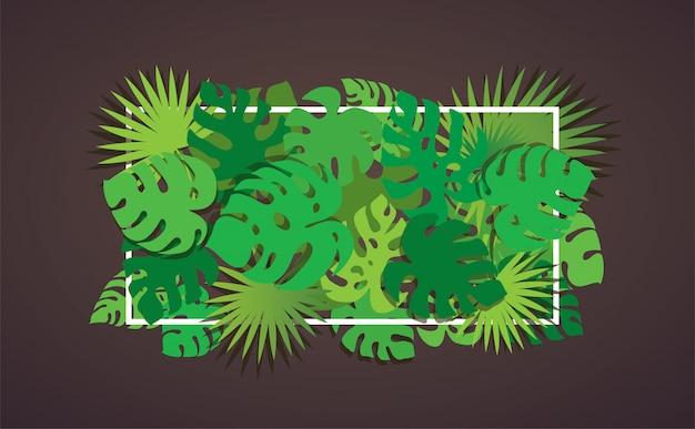 Sfondo di foglie tropicali Vettore Premium