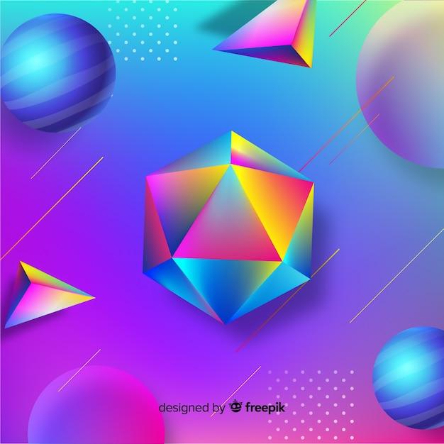 Sfondo di forme geometriche 3d Vettore gratuito