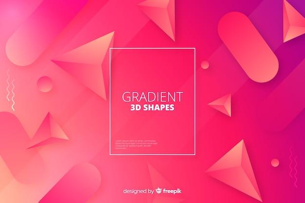 Sfondo di forme geometriche tridimensionali gradiente Vettore gratuito