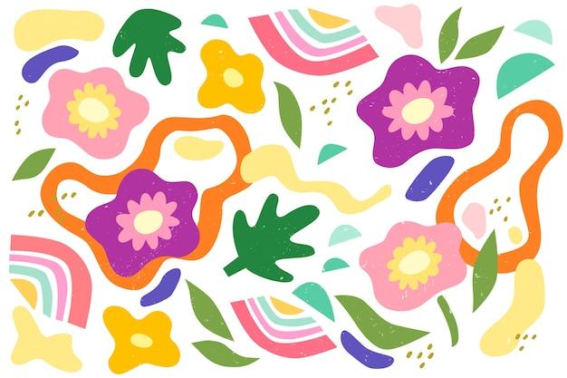 Sfondo di forme organiche astratte disegnate a mano Vettore gratuito