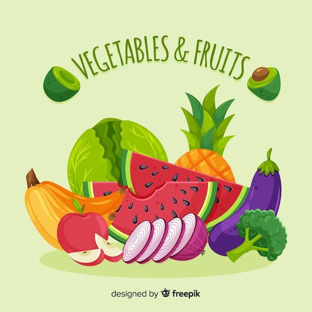 Sfondo di frutta e verdura piatta Vettore gratuito