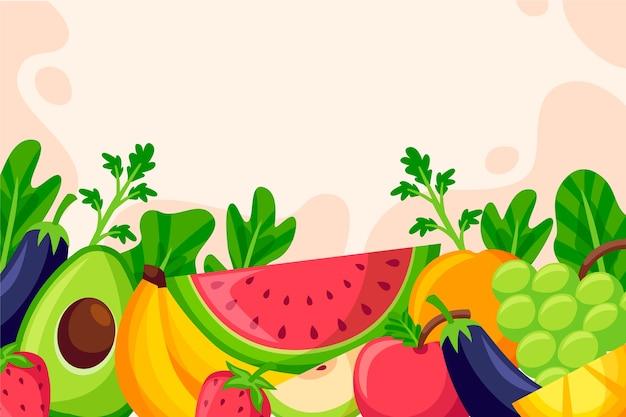 Sfondo di frutta e verdura Vettore gratuito