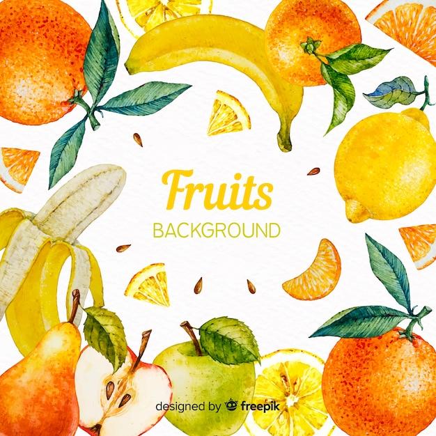 Sfondo di frutti ad acquerelli Vettore gratuito