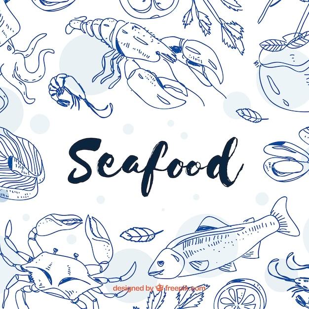 Sfondo di frutti di mare disegnati a mano Vettore gratuito