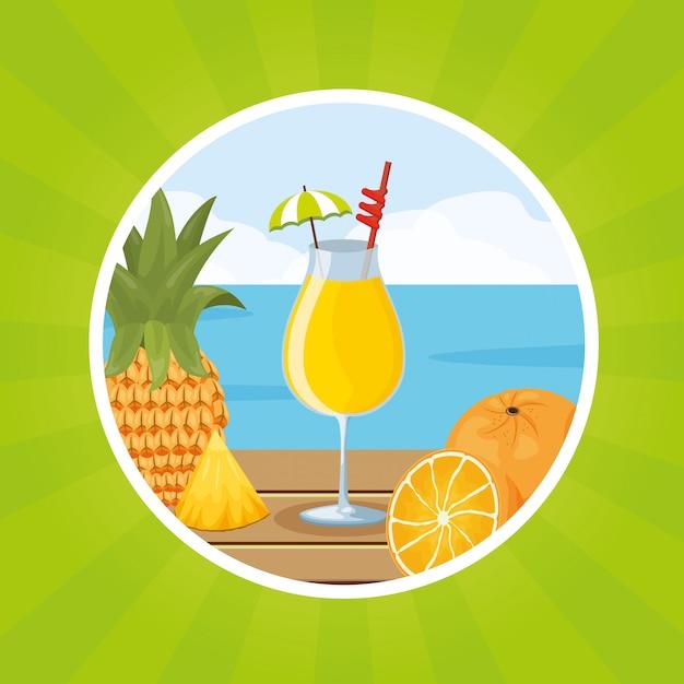 Sfondo di frutti tropicali Vettore gratuito
