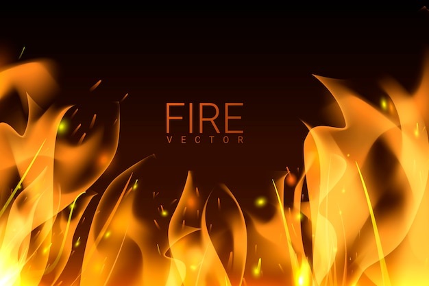 Sfondo di fuoco ardente Vettore gratuito