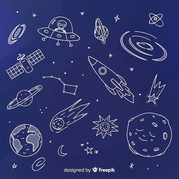Sfondo di galassia disegnato a mano bella Vettore gratuito