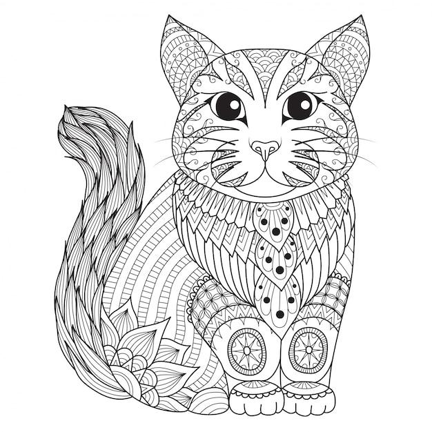 Sfondo di gatto disegnato a mano Vettore gratuito