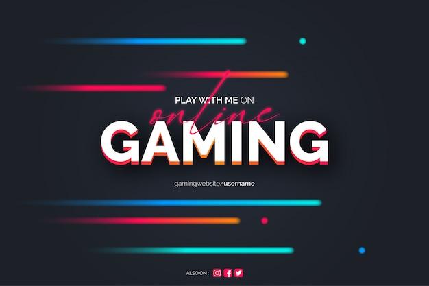Sfondo di gioco online con linee al neon Vettore gratuito