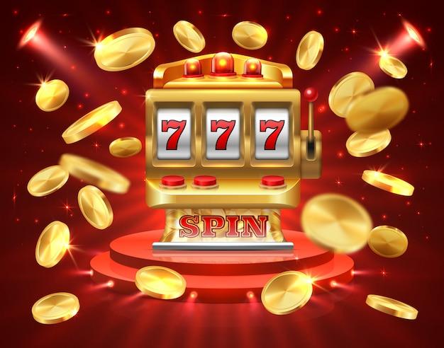 Sfondo di gioco realistico di slot machine. slot machine della roulette Vettore Premium