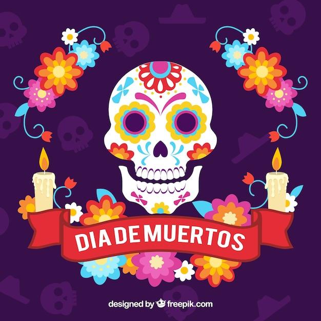 Sfondo di giorni di deads con cranio e candele decorative Vettore gratuito