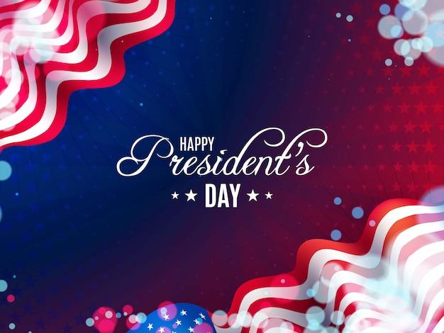 Sfondo di giorno del presidente usa con bandiere ondulate e palloncini Vettore Premium