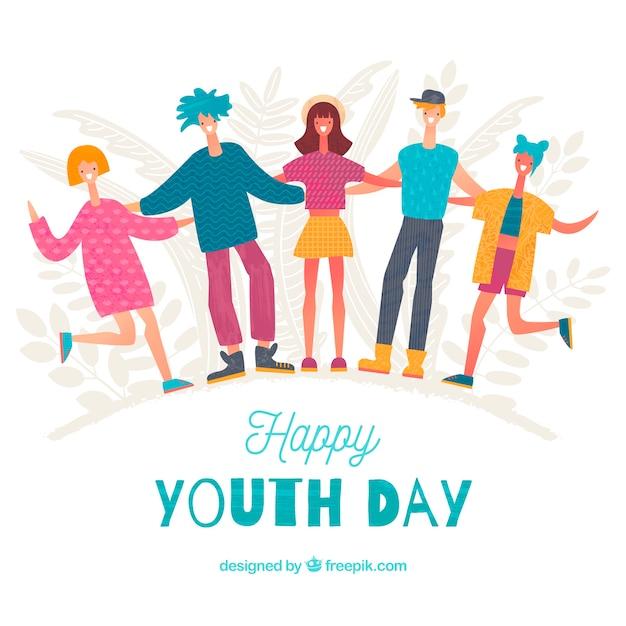 Sfondo di giorno della gioventù con persone felici Vettore gratuito