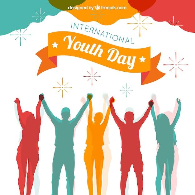 Sfondo di giorno della gioventù con sagome colorate Vettore gratuito
